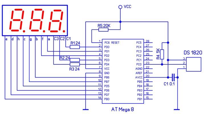 Термометр на AT Mega 8 и DS